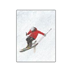 """Daring Skier Flying Down a Steep Slope Blanket 50""""x60"""""""