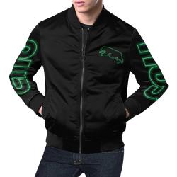 Green Neon Jumping Bear All Over Print Bomber Jacket for Men (Model H19)