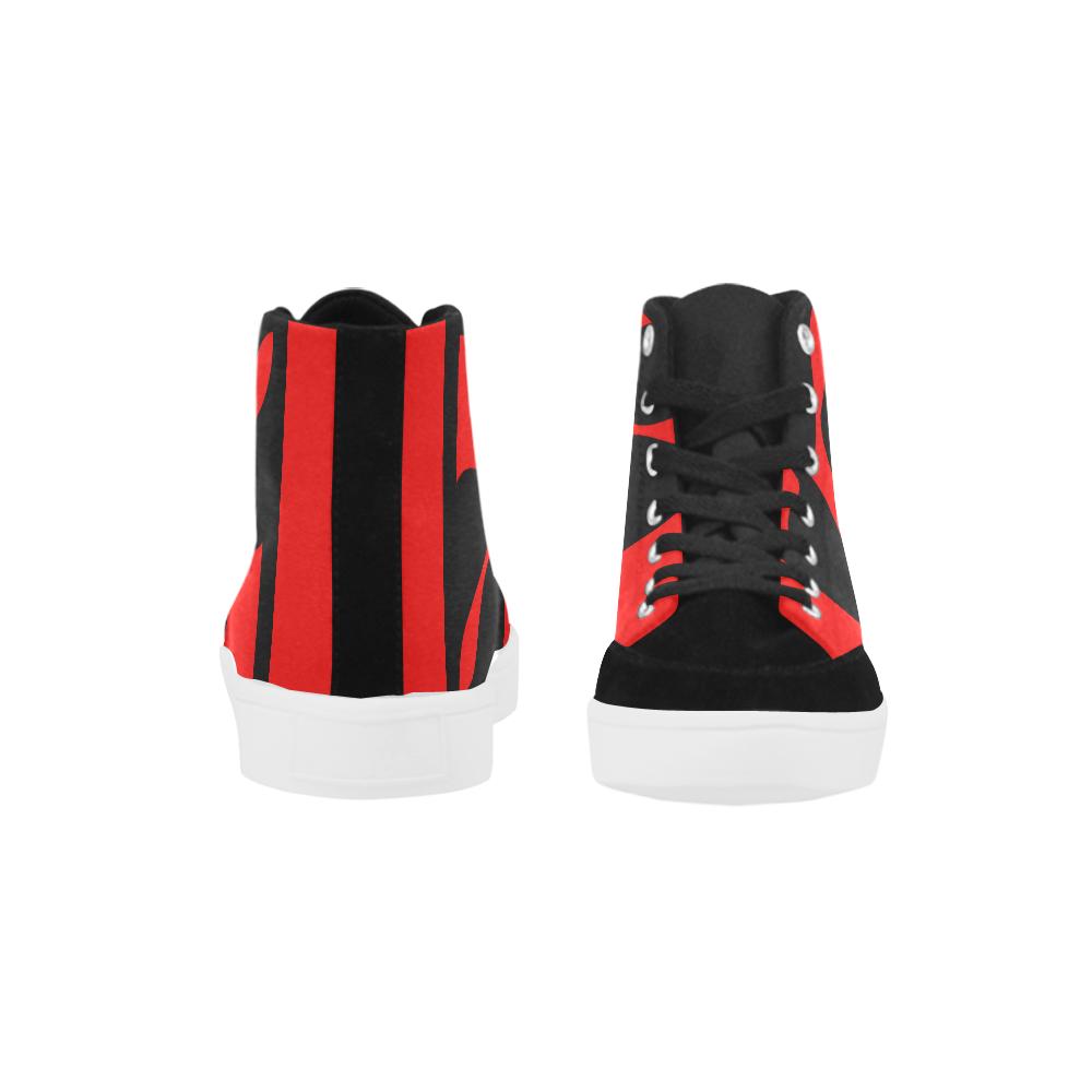 black ivolve in red Herdsman High Top Shoes for Men (Model 038)