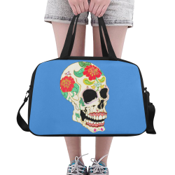 Flower Sugar Skull Blue Fitness Handbag (Model 1671)