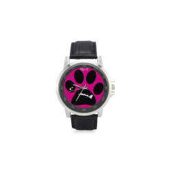 BooBooFace by MacAi in pink Unisex Stainless Steel Leather Strap Watch(Model 202)