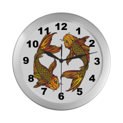 Brillant Koi Fish Silver Color Wall Clock