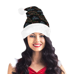 xmas Text Tis The Season Pattern on Black Santa Hat
