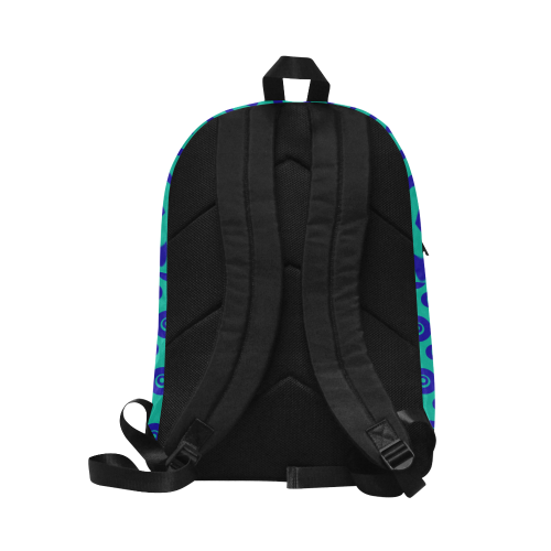 Blue Geometric Shapes in Turquoise Unisex Classic Backpack (Model 1673)