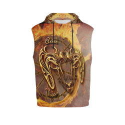 aries gold All Over Print Sleeveless Hoodie for Men (Model H15)