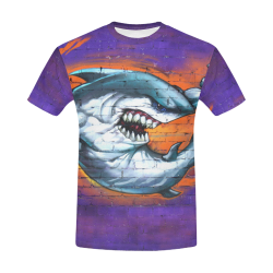 Graffiti Shark All Over Print T-Shirt for Men (USA Size) (Model T40)