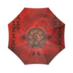Skulls on red vintage background Foldable Umbrella (Model U01)