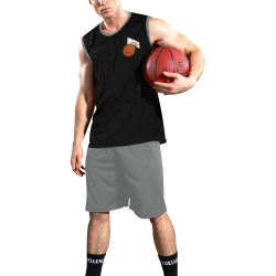 Basketball And Basketball Hoop Black and Gray All Over Print Basketball Uniform