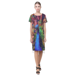 Impressionist Peacock Short Sleeves Casual Dress(Model D14)