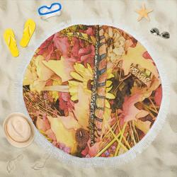 "Copper Cherokee Circular Beach Shawl 59""x 59"""
