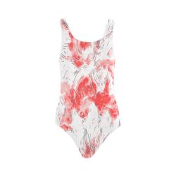 Floral Pink Sketch Art Vest One Piece Swimsuit (Model S04)