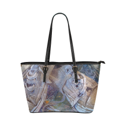 Sneakers In Blue Leather Tote Bag/Large (Model 1651)