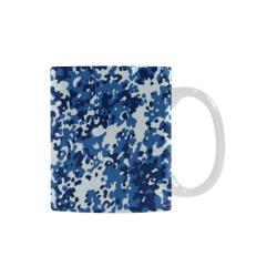 Digital Blue Camouflage White Mug(11OZ)