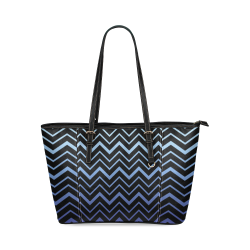 Steel Blue Chevrons on Black Background Leather Tote Bag/Small (Model 1640)
