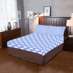 Clouds and Polka Dots on Blue 3-Piece Bedding Set