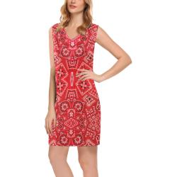 Bandana Squares Pattern Phoebe Sleeveless V-Neck Dress (Model D09)