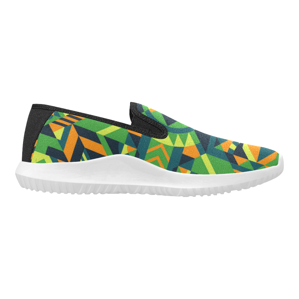 Modern Geometric Pattern Orion Slip-on Women's Canvas Sneakers (Model 042)