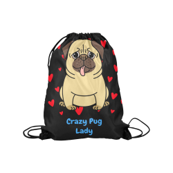 "bulldog love Medium Drawstring Bag Model 1604 (Twin Sides) 13.8""(W) * 18.1""(H)"