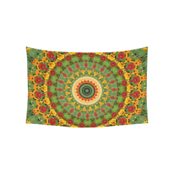 "Garden Mandala Cotton Linen Wall Tapestry 60""x 40"""