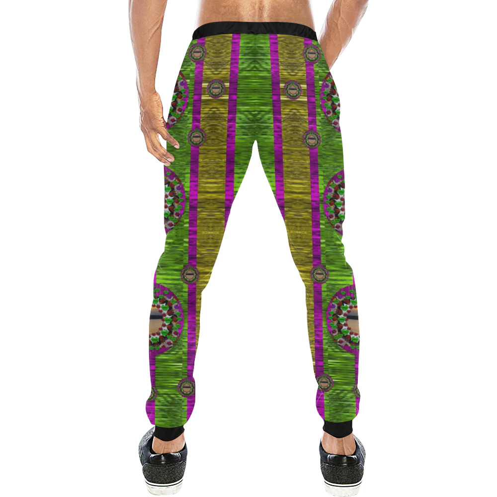 Sunset love in the rainbow decorative Men's All Over Print Sweatpants (Model L11)