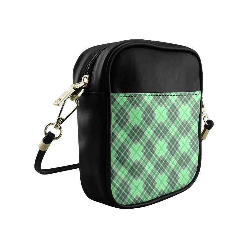 STRIPES LIGHT GREEN Sling Bag (Model 1627)
