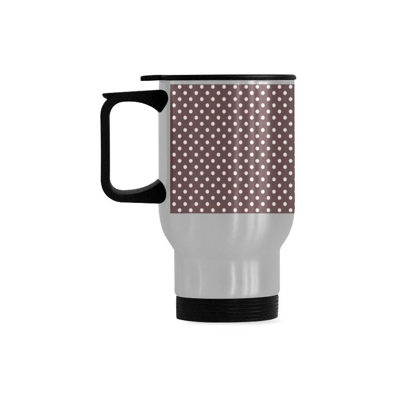 Chocolate brown polka dots Travel Mug (Silver) (14 Oz)