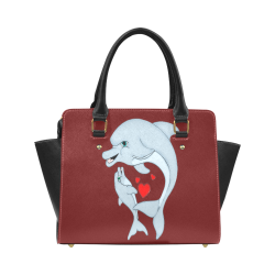Dolphin Love Burgundy Classic Shoulder Handbag (Model 1653)