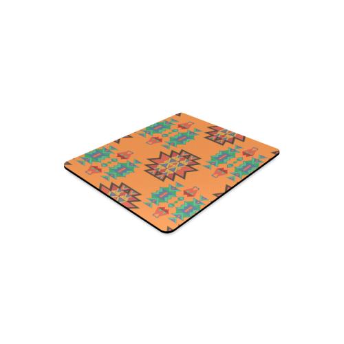 Misc shapes on an orange background Rectangle Mousepad