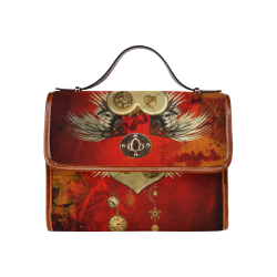 Steampunk heart, clocks and gears Waterproof Canvas Bag/All Over Print (Model 1641)