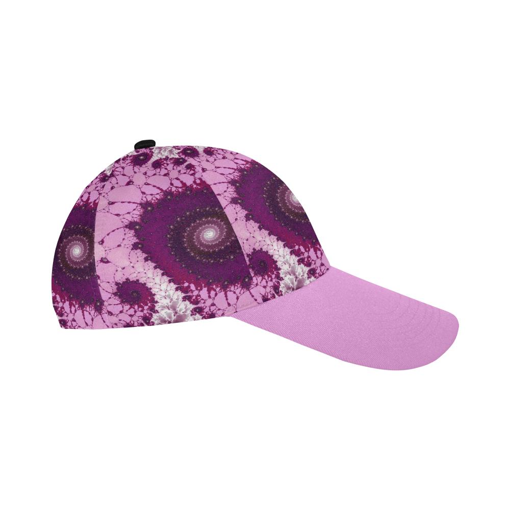 Pink Petals Glass Flower Spiral All Over Print Baseball Cap B