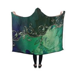Green floral design Hooded Blanket 50''x40''
