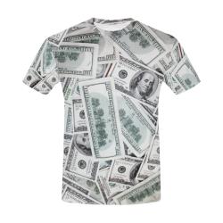 Cash Money / Hundred Dollar Bills Black Trim All Over Print T-Shirt for Men (USA Size) (Model T40)