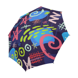 Delight's Parasol Collection- Pattern Abstract 53086a6 Semi-Automatic Foldable Umbrella (Model U05)