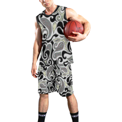 retro abstract doodle in black and white All Over Print Basketball Uniform