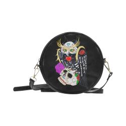 Owl Sugar Skull Round Sling Bag (Model 1647)