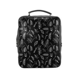 BLACK DANCING LEAVES Square Backpack (Model 1618)