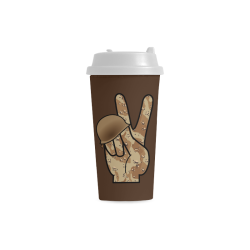 Desert Camouflage Peace Sign on Brown Double Wall Plastic Mug