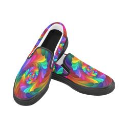 RAINBOW CANDY SWIRL Women's Slip-on Canvas Shoes (Model 019)