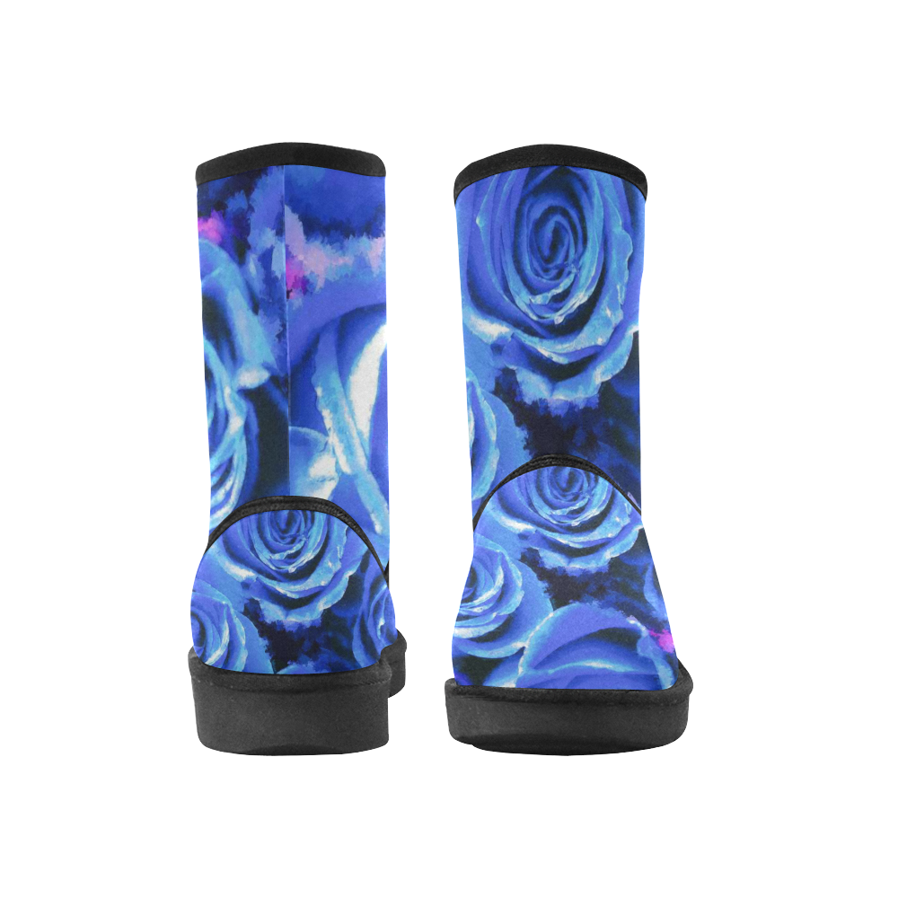 roses are blue Custom High Top Unisex Snow Boots (Model 047)