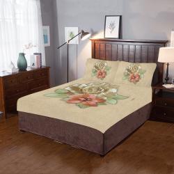 Leather flower decor 3-Piece Bedding Set