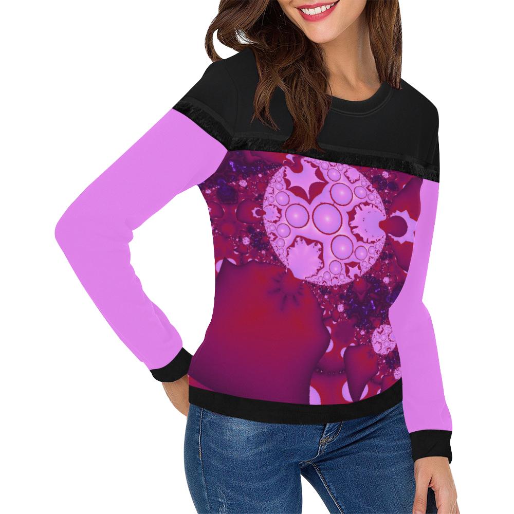 Planetary Bubble Gum Women's Fringe Detail Sweatshirt (Model H28)