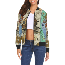 Nautical Steampunk All Over Print Bomber Jacket for Women (Model H19)