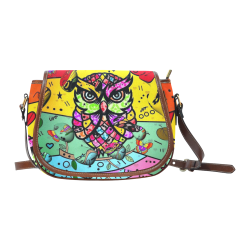 Owl Popart by Nico Bielow Saddle Bag/Large (Model 1649)