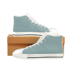 Silver blue polka dots High Top Canvas Women's Shoes/Large Size (Model 017)