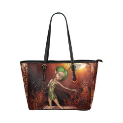 Cute little fairy Leather Tote Bag/Small (Model 1651)