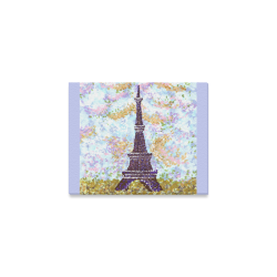 "Eiffel Tower Pointillism Landscape Light Blue canvas print Canvas Print 10""x8"""