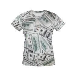 Cash Money / Hundred Dollar Bills Black Trim All Over Print T-Shirt for Women (USA Size) (Model T40)