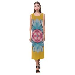 Mustard Yellow Blue Flower Center Phaedra Sleeveless Open Fork Long Dress (Model D08)
