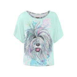 Breezy mint Women's Batwing-Sleeved Blouse T shirt (Model T44)