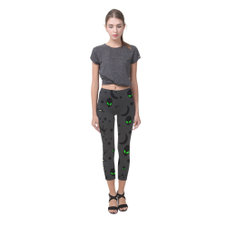Alien Flying Saucers Stars Pattern on Charcoal Capri Legging (Model L02)
